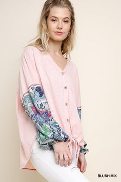 Slub Knit Button Up Top in Pink
