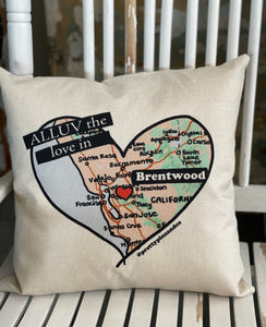 Custom Alluv the Love in Brentwood, CA Pillow