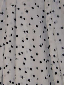 White with Navy Spot - Polyester