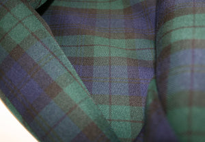 Green and Blue Tartan Check - Polyester & Viscose Mix