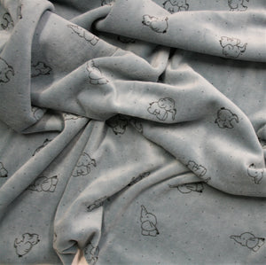 Blue Elephants - Cotton Velour