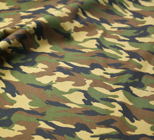 Khaki Camo - Cotton Poplin