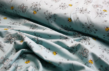 Bees and Flowers on Blue - Cotton Jersey