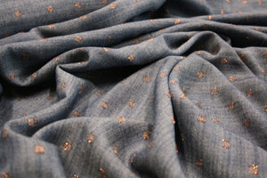 Yukon Denim Blue with Bronze Dots - Viscose Mix