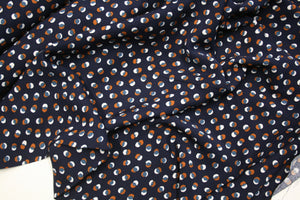 Brown and White Splodge on Navy - Viscose Twill