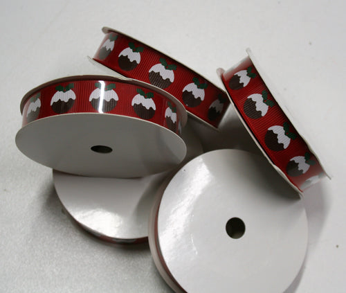 Christmas Puddings - Grosgrain Ribbon - 16mm x 5m Reel