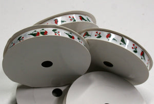 Christmas Robins - Grosgrain Ribbon - 9mm x 5m Reel