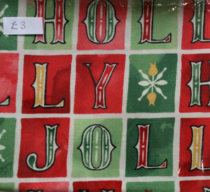 Jolly Holly - Cotton - Fat Quarter (Approx 57cm x 50cm)