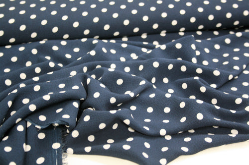 Navy Tea Party Polka - Polyester