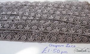 Grey Guipere Lace Trim