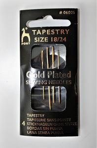 Gold Plated Tapestry Needles - 4 pack - Size 18/24 - Pony
