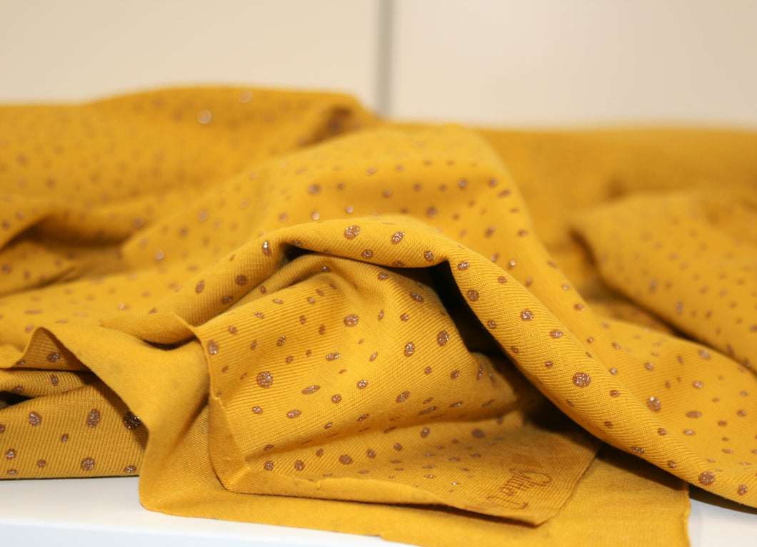 Mustard Glitter Dot Cotton Jersey