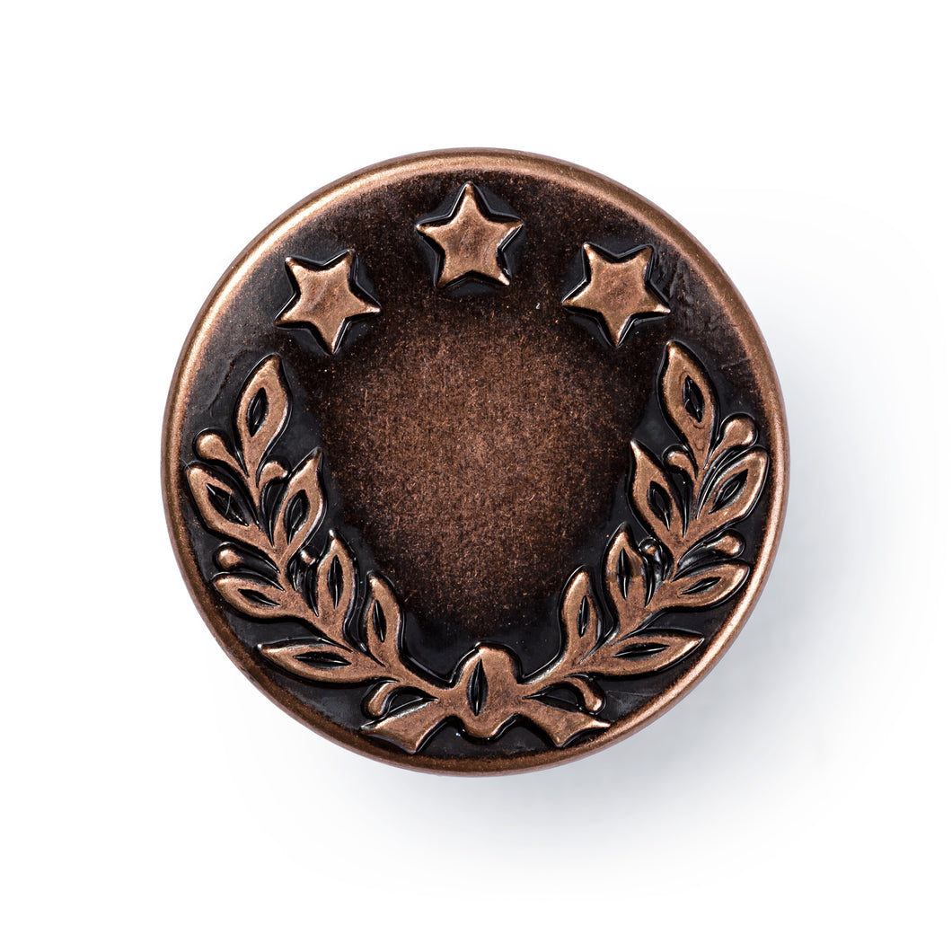 Non-sew jeans buttons, laurel wreath - 17mm - old copper