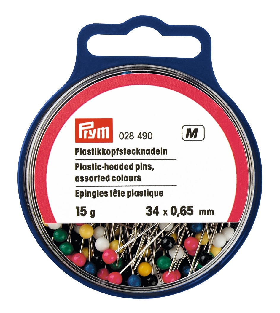 Plastic-headed pins - 0.65 x 34mm - multi-colour