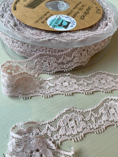 Powder Pink - Stretch Lace - 20mm