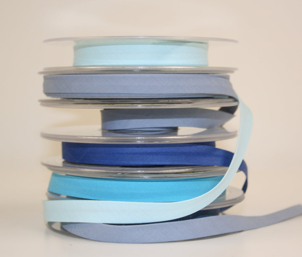 12mm Wide Polycotton Blues - Bias Binding