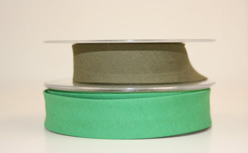 25mm Wide Polycotton Greens - Bias Binding