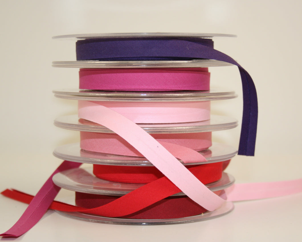 12mm Wide Polycotton Pinks - Bias Binding
