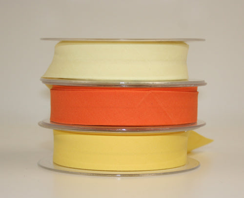 25mm Wide Polycotton Yellows - Bias Binding