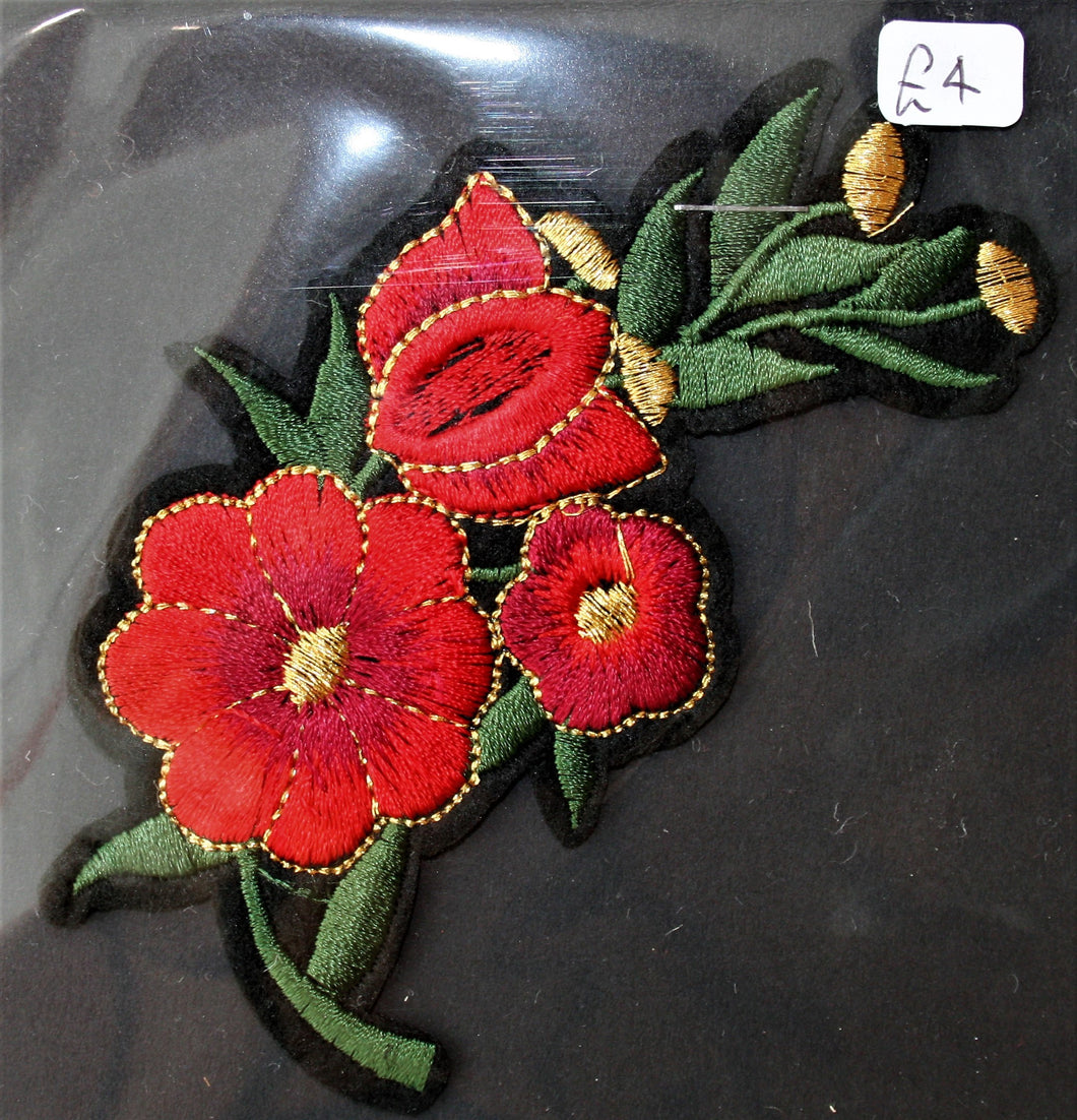 Red and Gold Rose - Iron On Motif