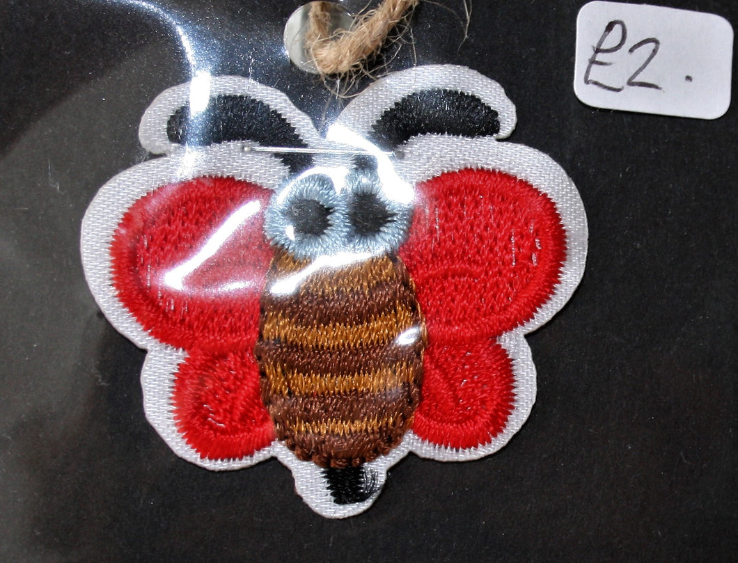 Cute Red Bee - Iron On Motif