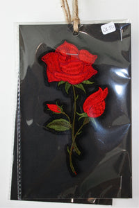 Red Rose and Bud - Iron On Motif