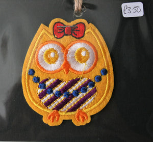 Yellow Owl - Iron On Motif