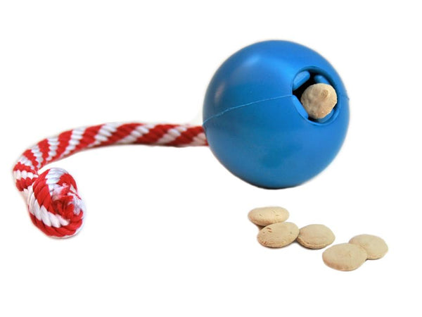 IQ Rope Ball Treat Dispensing Pig Toy stuffed with pig treats
