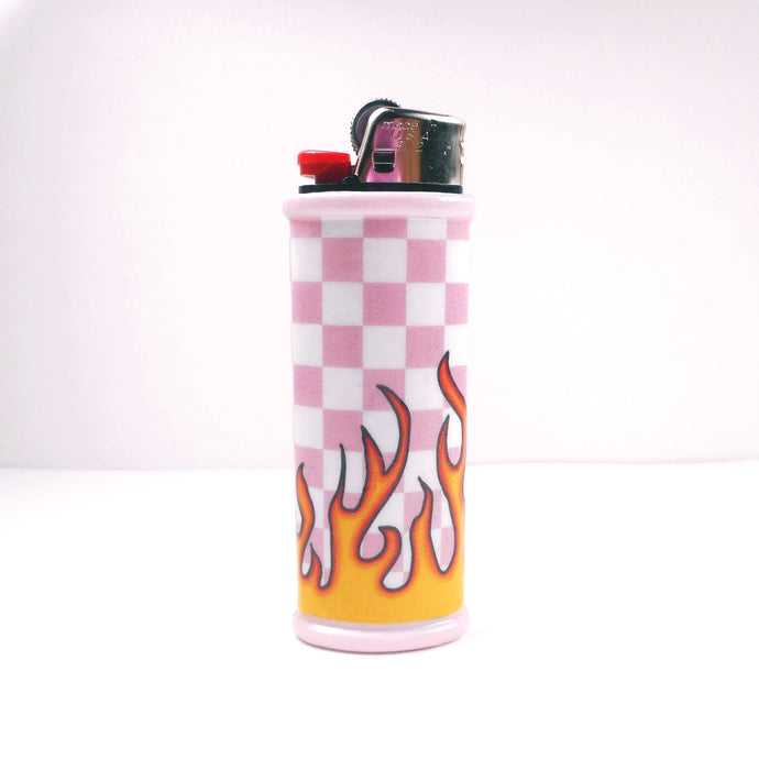 Pink Checkerboard Flame Bic Lighter Case