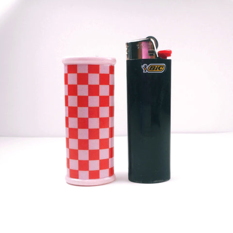 Red and Pink Checkerboard Bic Lighter Case