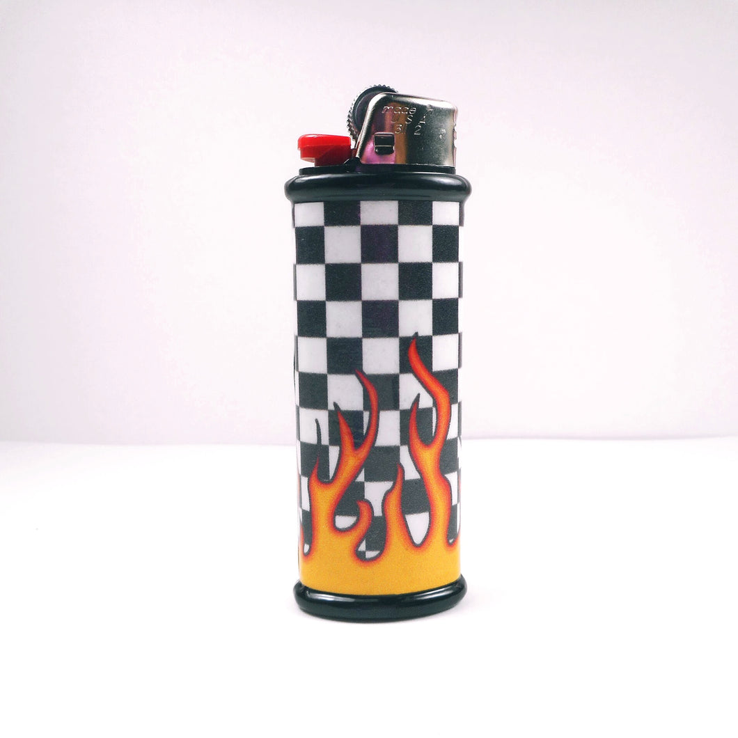 Black Checkerboard Flame Bic Lighter Case
