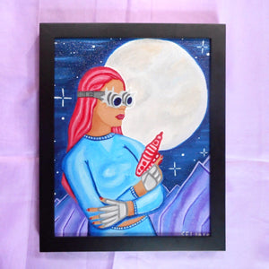 """Space Girl"" Oil Painting"