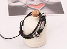 Owl Wing Beads Leather Bracelet