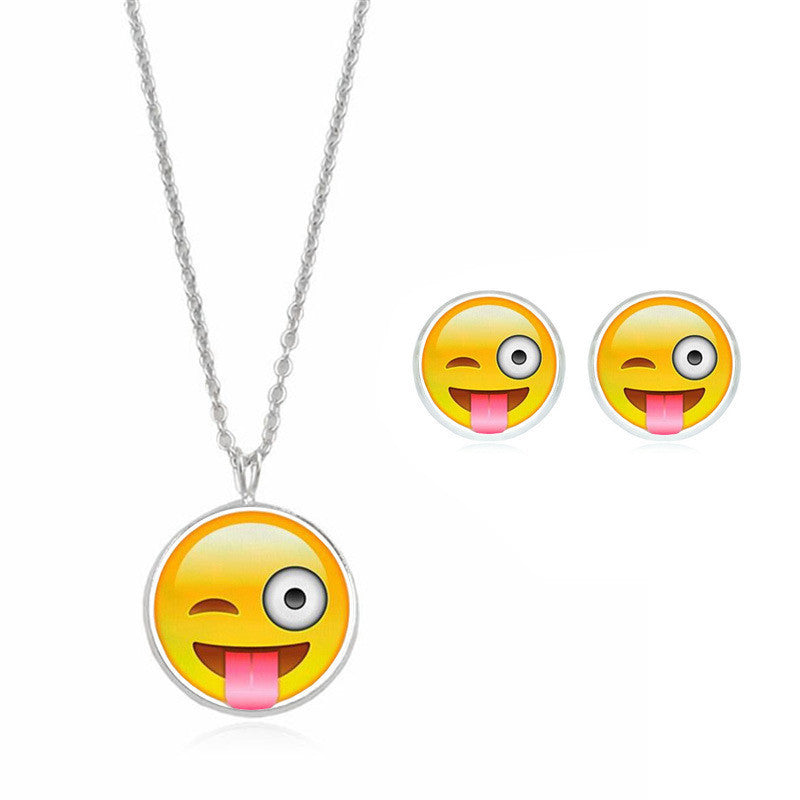 Emogi Necklace and Stud Earring Set