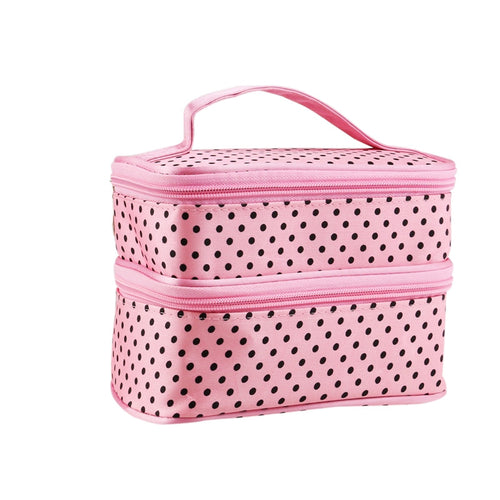 Dotted Two-layer Cosmetic Makeup Bag