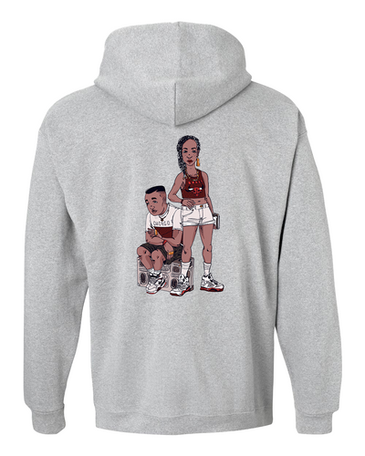 Back of the LTAB 2018 hoodie featuring a design of a boy sitting on a boombox and a girl standing beside him