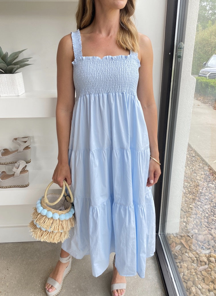 Blue Solid Smocked Tiered Maxi