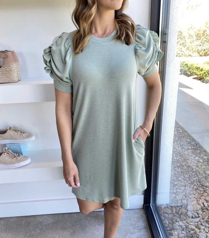 Hunter Green French Terry Dress