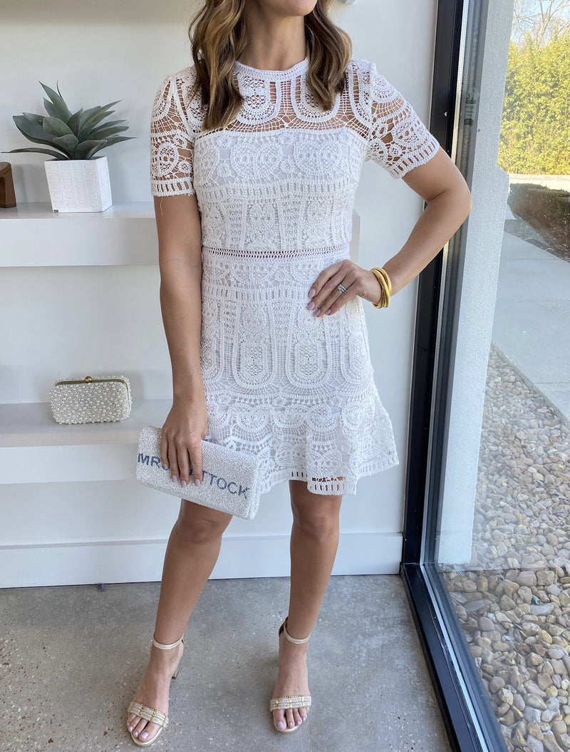 Collier Stretch Crochet Embroidery Dress