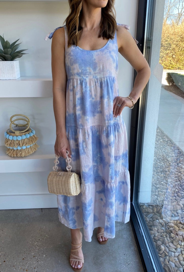 Galaxy Tie Dye Tie Shoulder Maxi Tier Dress