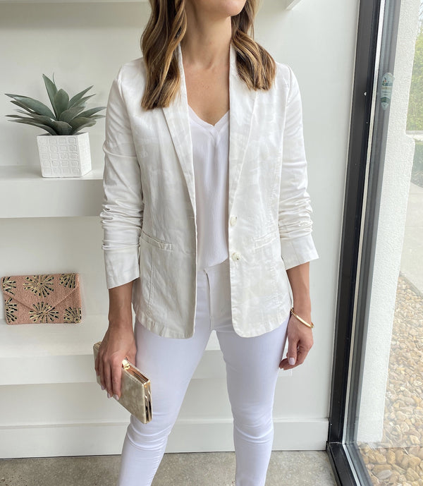 Cream White Camo Blazer
