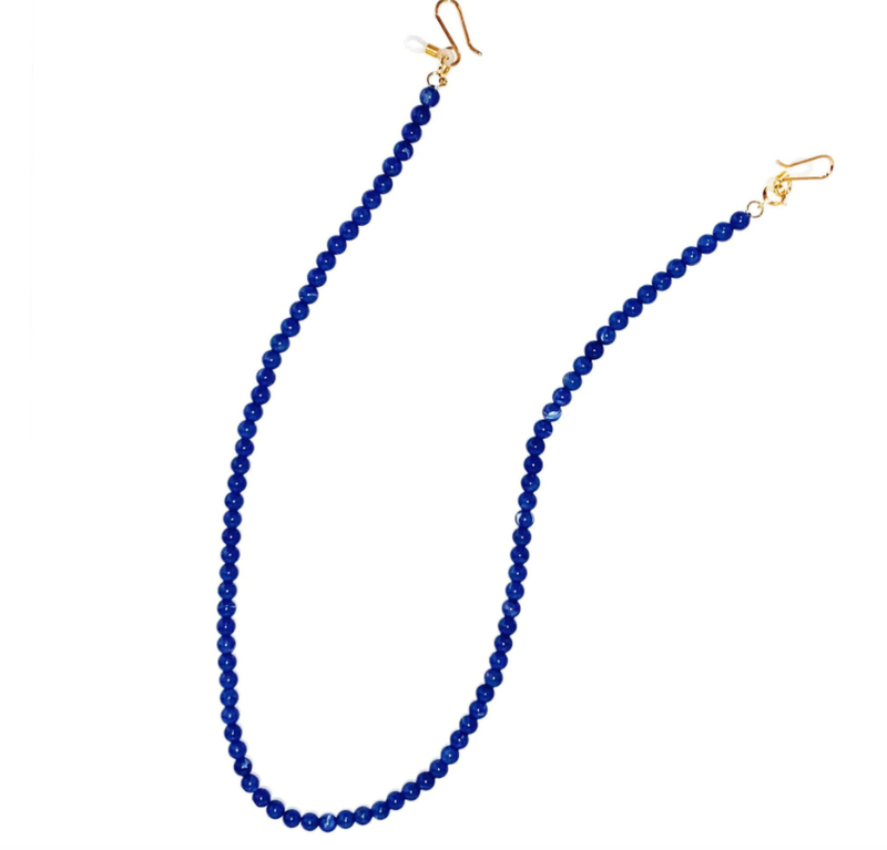 Lapis Beaded Cable Link Eyeglass Chain