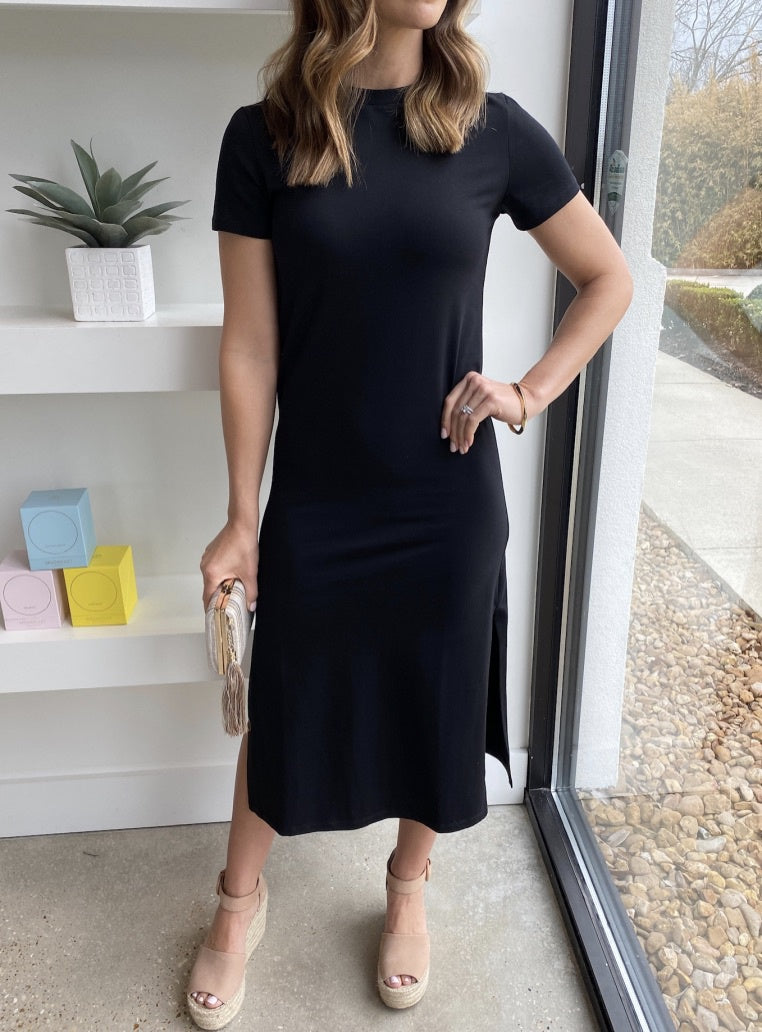 Yanni Black Midi Dress