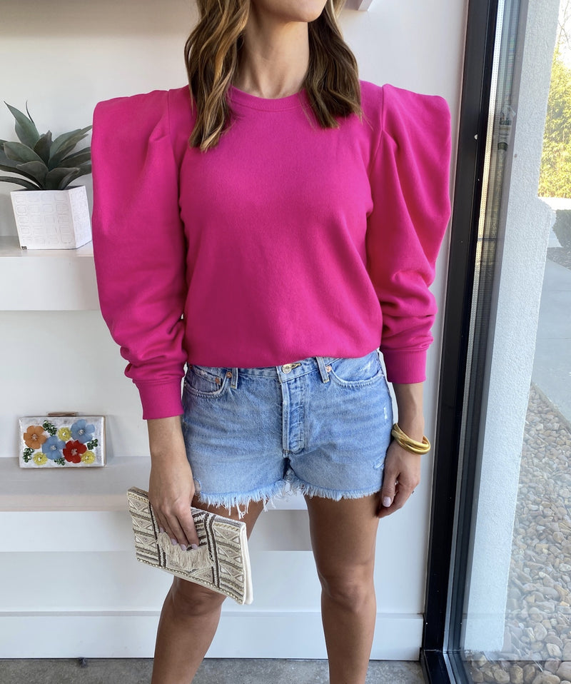 Barbie Pink Joss Puff Sleeve Sweatshirt