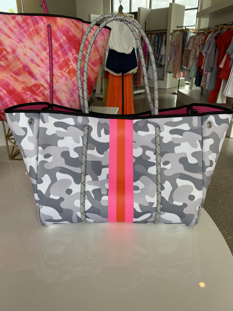 Neoprene White Camo Greyson Tote - Pink/Orange Stripe