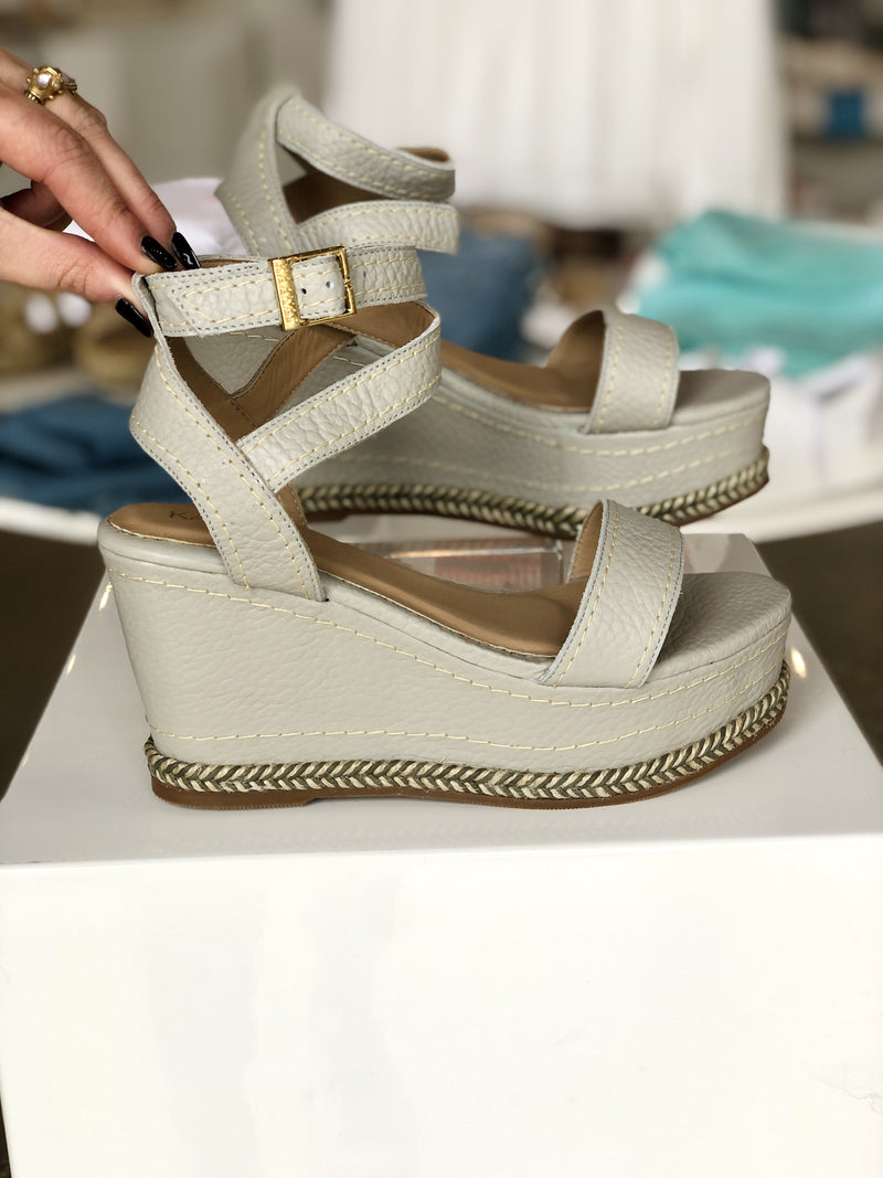 KAW00039R Grey Canaria Leather Wedge with Ankle Strap