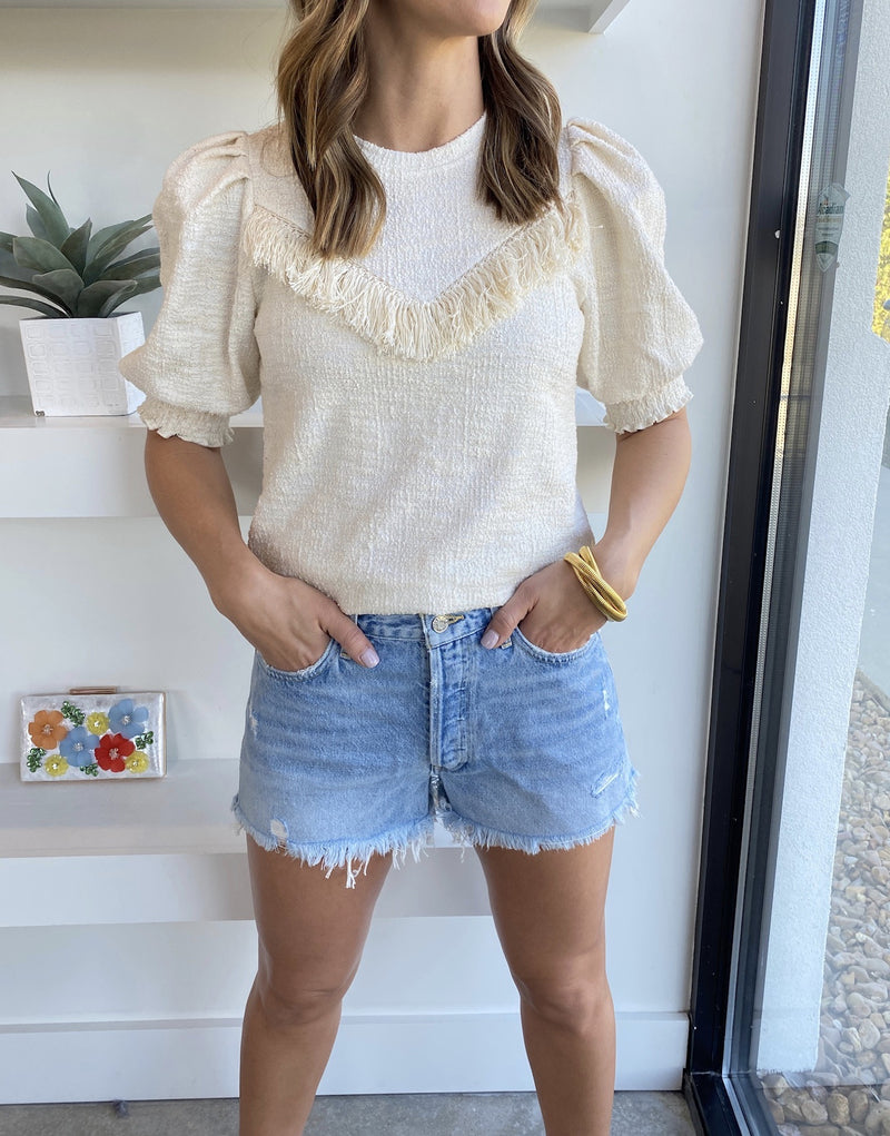 Clarita Fringe Knit Top