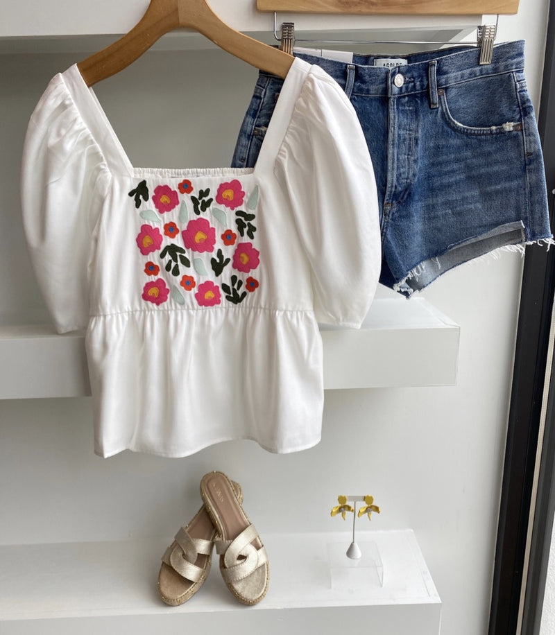 White with Flowers Liza Top