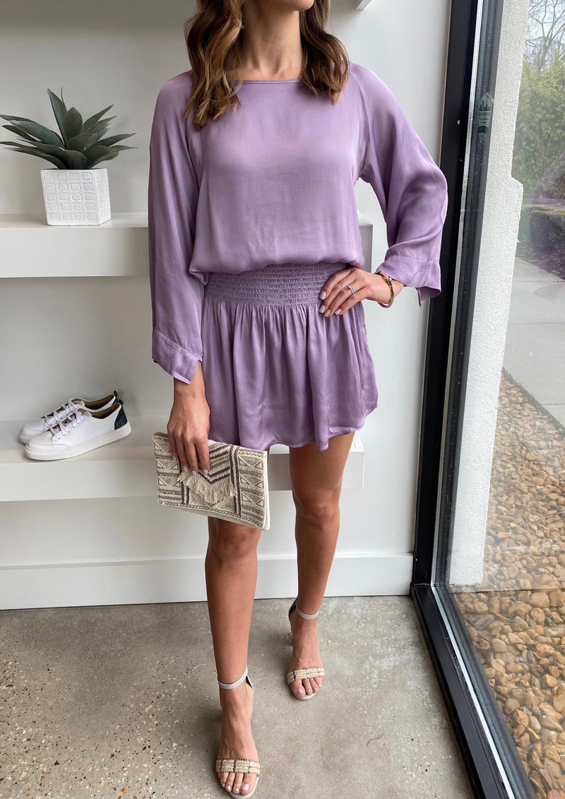 Lavender Grey Silk Elastic Mini Skirt