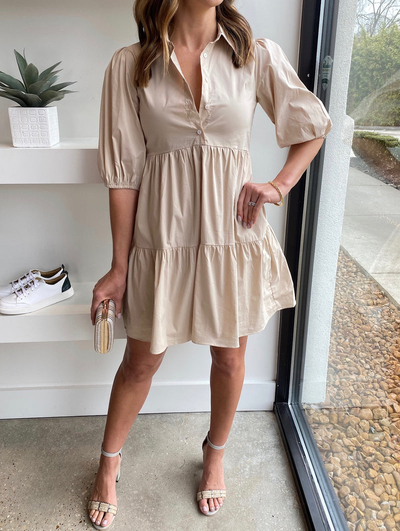 Khaki Popline Puff Sleeve Tier Collar Dress